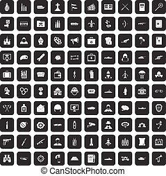 100 military icons set black - 100 military icons set in...