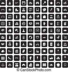 100 mother and child icons set black