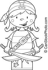 Pirate Girl Crewman - Cute Cartoon Pirate Crewman with...