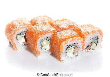 Sushi maki with salmon topping on white ground