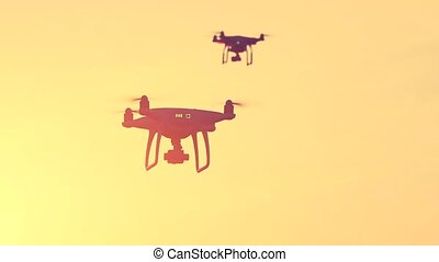 Close up view of two drone quad copters with high resolution...