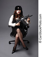 Portrait of a female officer - Portrait of a young and sexy...