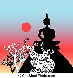 Graphic vector Buddha on a hill at sunset