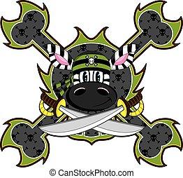 Zebra Pirate Crewman - Cute Cartoon Zebra Pirate Crewman...