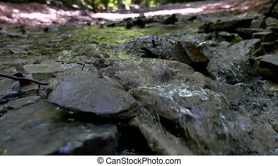 Mountains stones river water close-up wild beautiful nature