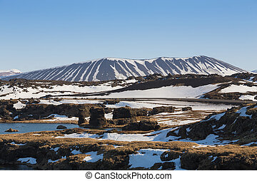 Iceland winter season Myvatn volcano, natural landscape...