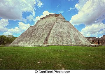 grande, pirámide,  Yucatán,  Uxmal,  México