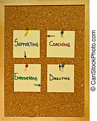 Situational leadership styles on a wooden boad - Post it...