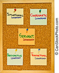 Leadership theories on a wooden board - Post it notes on a...