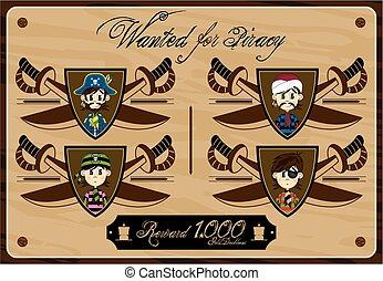 Pirates Wanted Poster - Cute Cartoon Pirate Buccaneers...