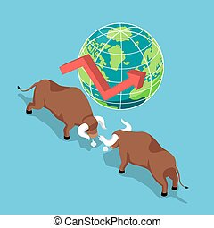 Isometric bulls fighting with world and growth graph. - Flat...