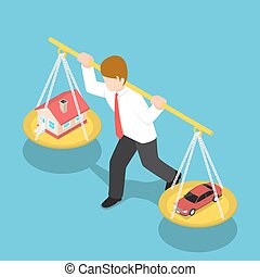 Isometric Businessman Carrying House and Car on His Shoulder...