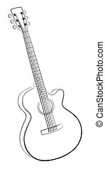 Guitar sketch. - Sketch of a classical variety guitar.