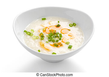 Asian Rice Porridge - Rice porridge, or jook in white bowl...