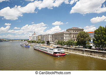 Panoramic view of the eastern bank of the Danube River in...