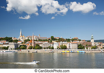 view across the River Danube towards the Fisherman's Bastion...
