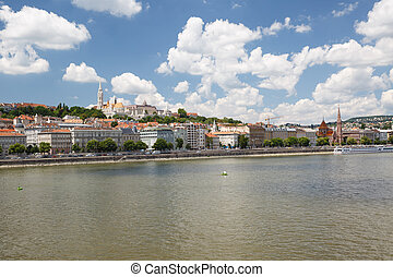 View of Buda side of Budapest with the Fishermen's Bastion...