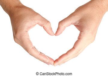 Coração, FORMA, homem, protegendo, mãos