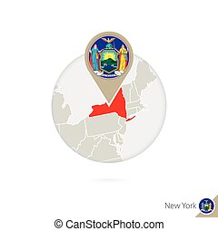 New York US State map and flag in circle. Map of New York, New York flag pin. Map of New York in the style of the globe.