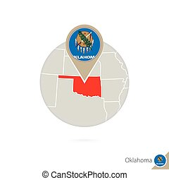 Oklahoma US State map and flag in circle. Map of Oklahoma, Oklahoma flag pin. Map of Oklahoma in the style of the globe.
