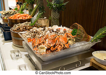seafood put on ice in the restaurant