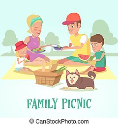 Happy Family on a Picnic in the Park. Mother, Father, Son, Daughter and Dog are Resting in Nature. Vector illustration