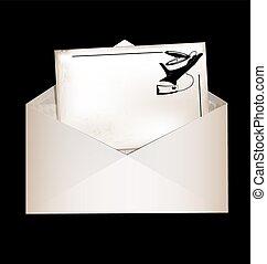 dark, envelope and retro card - dark background, vintage...