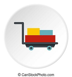 Luggage trolley with suitcases icon circle - Luggage trolley...