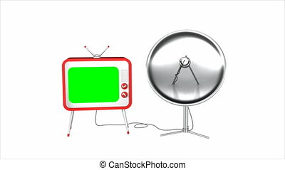 Satellite TV - 3d retro styled TV with green screen and...