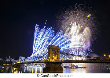 Fireworks in the night sky of Budapest. View of the...