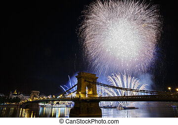 Festive Fireworks in the night sky of Budapest. View of the...