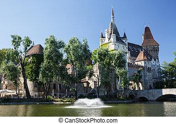 Lovely Vajdahunyad castle and lake. Budapest, Hungary