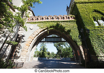 Gate of the Vajdahunyad Castle in Budapest, Hungary.