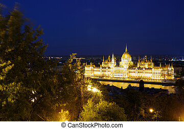 Night view on the Parliament Building in Budapest Hungary