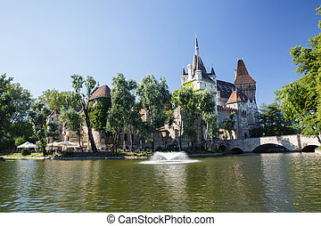 Vajdahunyad castle with a lake is a favorite place of rest...