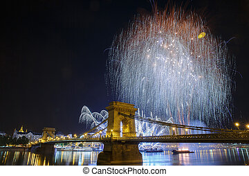 Fireworks over the Danube in Budapest. View of the...