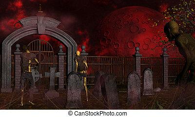 Walking dead in spooky foggy cemetery - Zombies in spooky...