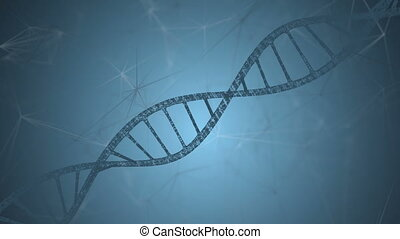 Dna and plexus on a blue background. Loop animation. science