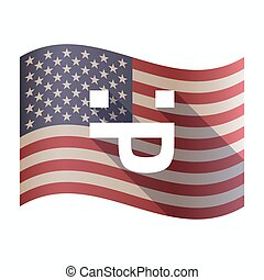 Isolated  USA flag with a sticking out tongue text face