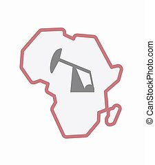 Isolated Africa map with a horsehead pump - Illustration of...