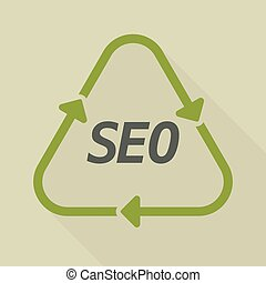 Long shadow recycle sign with    the text SEO