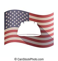 Isolated  USA flag with a work helmet