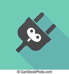 Long shadow plug with a toy crank - Illustration of a long...