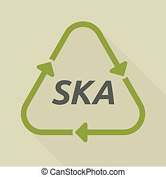 Long shadow recycle sign with the text SKA - Illustration of...