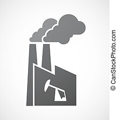 Isolated factory with a horsehead pump - Illustration of an...