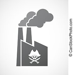 Isolated factory with a pirate skull