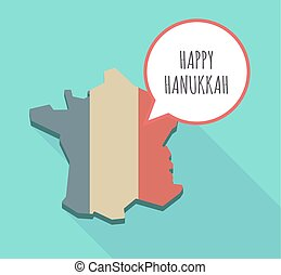 Long shadow  France map with   the text HAPPY HANUKKAH