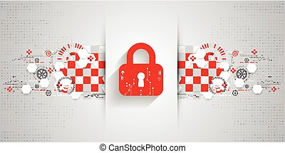 Red protection background. Technology security, encode and...