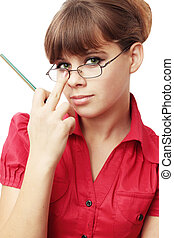 secretary - Young woman repairs glassesthe secretary