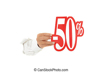 Fifty percent discount sign, hand - Hand of man breaking...